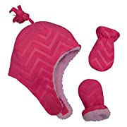N'Ice Caps Little Girls and Baby Soft Sherpa Lined Micro Fleece Pilot Hat and Mitten Set (6-18 Months, Fuchsia/Embossed Chevron Print Infant)