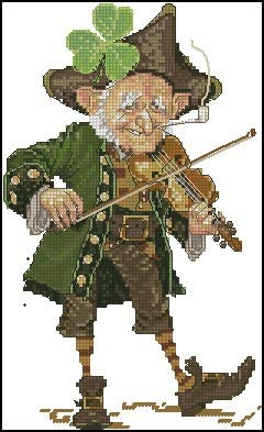 Cross Stitch Fabric CT number: 11CT unprint canvas Ochoos Top Quality lovely counted cross stitch kit Violoniste au Trefle violinist violin player musician nimue nium