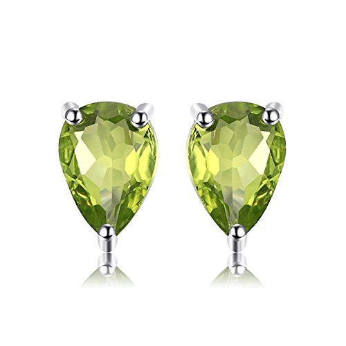 JewelryPalace Pear 1.6ct Natural Green Peridot Birthstone Stud Earrings Solid 925 Sterling Silver