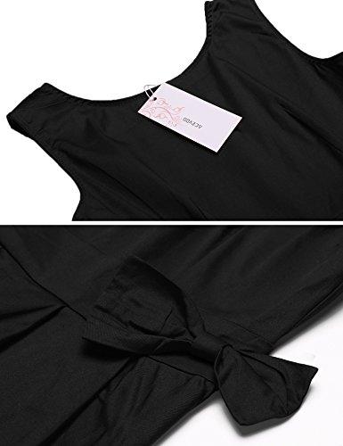 Kleider Taille Vintage Partykleider Knielang Rockabilly Damen Sommerkleider Schwarz Acevog Der Cocktailkleider Schleife An Retro Baumwolle Mit Festlich Elegante