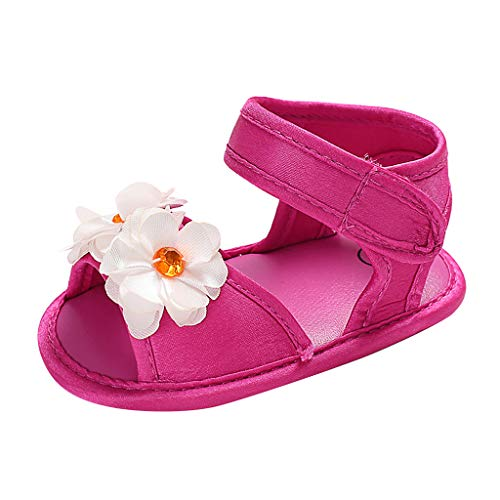 Tantisy ♣↭♣ Baby Girl Sandals Anti-Slip Rubber Sole Summer First Walkers with Flower Newborn Shoes Infant Sandals Girls Hot Pink