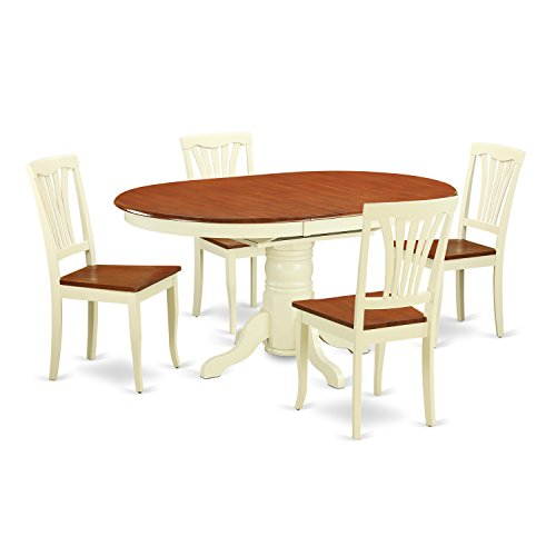 East West Furniture AVON5-WHI-W 5Piece Dinette Table with Leaf 4 Wood Seat Chairs in a Beautiful Buttermilk Cherry Finish
