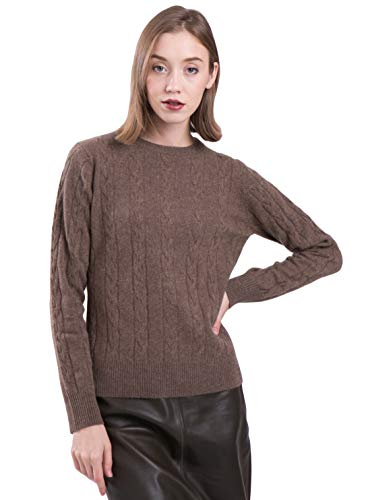 LEBAC Women's 100% Cashmere Crew Neck Sweater Cable Knit Pullover Brown