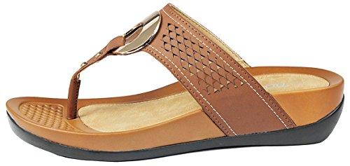 Femmes Ch Slip-on Confortable Découpé En Simili-cuir Or Métal Décor Clip Orteil Wedge Pantoufles Chaussures Marron