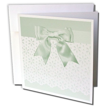 Beverly Turner Wedding Attendant and Bridal Party - Pastel Green Satin Bow Look on Flowered Eyelet Look - 12 Greeting Cards with envelopes (gc_244127_2)