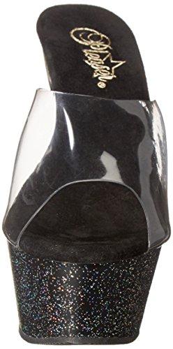 Pleaser Kiss-201mg - Sandalias Mujer Negro - Schwarz (Schwarz (Clr/Blk Glitter))