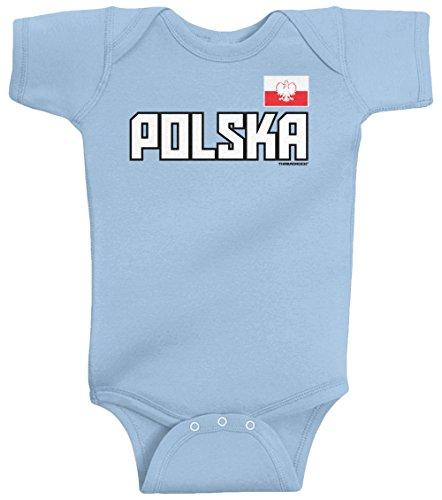(Threadrock Unisex Baby Polska National Pride Bodysuit 24M Light Blue)