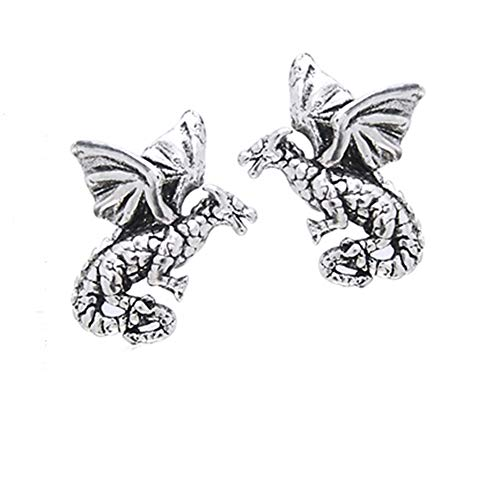 - Small Flying Dragons - Detailed Sterling Silver Post Stud Earrings