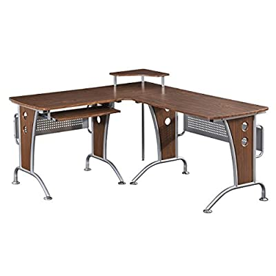 Computer L-Desk Mahogany Color - Mahogany laminate surface Durable powder coated steel structure Decorative metal mesh modesty panels - writing-desks, living-room-furniture, living-room - 41mXck04hvL. SS400  -