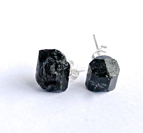 68849ec1d Image Unavailable. Image not available for. Color: Black tourmaline raw  crystal earrings studs
