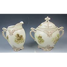 Silesia/Ohme China OLD IVORY XVI Round Creamer and Sugar Bowl with Lid EXCELLENT