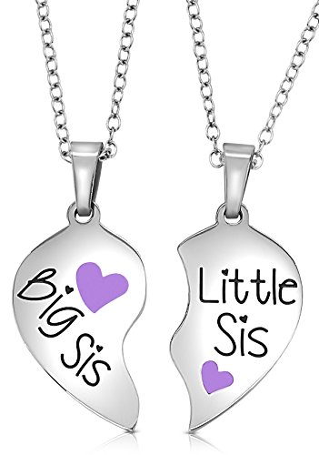 2 Piece Heart Halves Matching Big Sis Little Lil Sis Sisters Necklace Jewelry Gift Set Best Friends - Sister Necklaces 2 - Sister Jewelry Gifts Girls, Teens, Women (Purple)