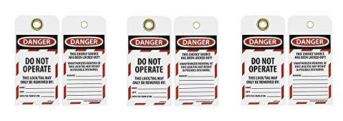 NMC LOTAG36-25 Lockout Tag,''Danger - DO NOT Operate,'' 6'' Height x 3'' Width, Unrippable Vinyl, Red/Black on White (Pack of 25) (3-(Pack))