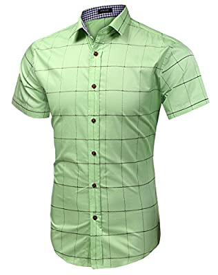 Coofandy Men's Short sleeves Plaid fashion Slim Fit Button Down casual dress Shirt