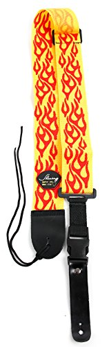 Yellow & Red Flame Guitar Controller Strap For Guitar Hero & Rock Band Guitars On PS3, PS2, Xbox 360 & Wii (Compatible With Guitar Hero: Warriors of Rock, 6, 5, 4, 3, 2 & 1) (Rock Band Guitar Strap)