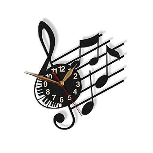 (Treble Clef Wall Clock -Select Size, Personalization- Note Stave Staff Musician's Modern Melody Sheet Music Gift Wooden Wall Art Décor )