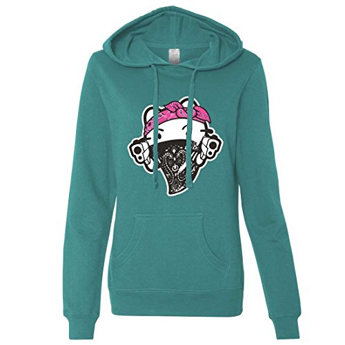 Hello Kitty Gangster Thug Ladies Lt./Wt. Hoodie - Teal X-Large (Hello Kitty Gangster)
