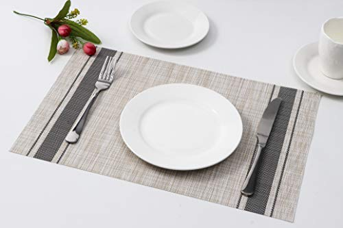 Millie Home Placemats for Dining Table Vinyl Heat Resistant Wipeable Placemat Non-Slip Washable PVC Kitchen Place Mats Set of 6,Gray Stripe by Millie Home (Image #5)