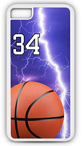 iPhone 8 Case Basketball BK012Z Choice of Any Personalized Name or Number Tough Phone Case by TYD Designs in White Plastic and Black Rubber with Team Jersey Number 34 (Fabric Jasper Necklace)