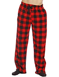 Microfleece Mens Plaid Pajama Pants With Pockets