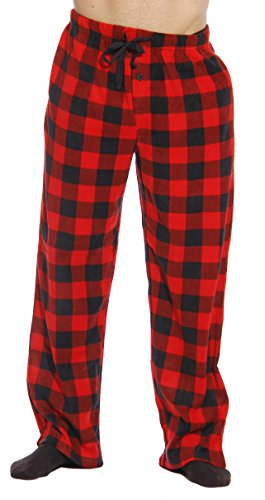 #FollowMe 45902-1A-L Polar Fleece Pajama Pants for Men/Sleepwear/PJs, Red Buffalo Plaid, Large