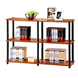 Classroom Bookshelves and Bookcases Etagere Bookcase Light Cherry/Black 3 Tier Industrial Modern Free Standing Rectangle Bookcase & E-Book