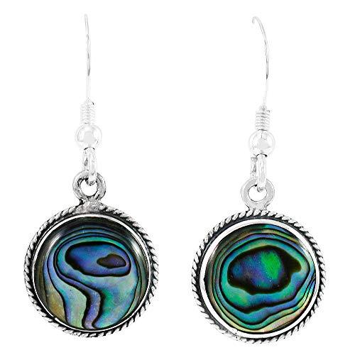 Abalone Earrings 925 Sterling Silver & Genuine Gemstones (Abalone Shell) Abalone Shell Silver Earrings