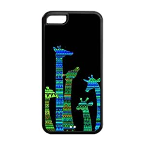 Colorful Tribal Giraffe Protective Rubber Back Fits Cover Case for iphone 4s