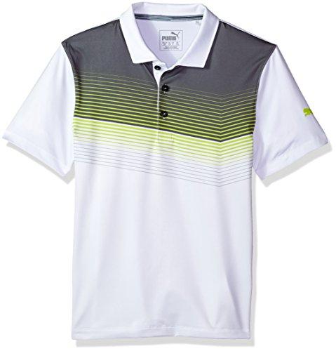 PUMA Golf Teen-Boys 2018 Road Map Polo, Bright White/Acid Lime, Medium