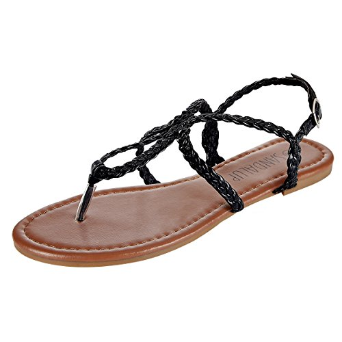 SANDALUP Women's Braided Strap Thong Flat Sandals Black 09