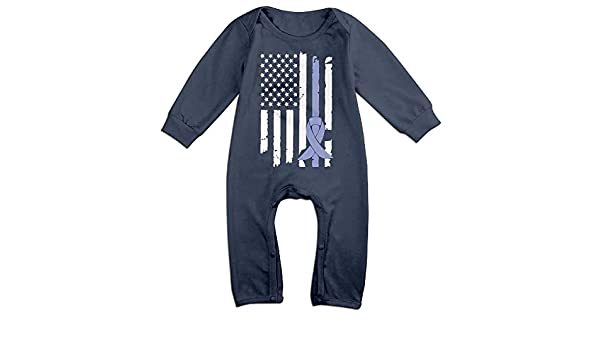 FAFU/&SKY Thin Green Line American Flag Infant Baby Romper Summer Short Sleeve Jumpsuit