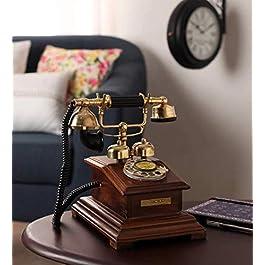DEZZINE®Antique Style Wooden Telephone, Vintage Type Retro Look landline as Home Phone handset (Telephone – 05).