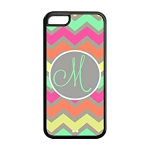 Monogrammed Multicolored Pastel Chevron With Initials Monogram Personalized IPOD TOUCH 5 PVC Case/Cover New Fashion, Best Gift