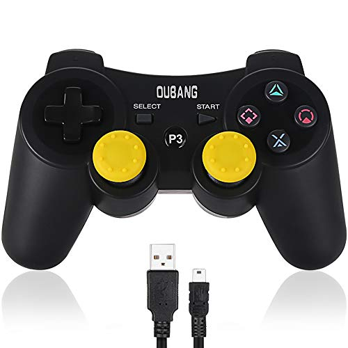 PS3 Controller Wireless Dualshock 3 - OUBANG Upgrade Version Best PS3 Games Remote Bluetooth Sixaxis Gamepad for PlayStation3 (Black) (Best Non Shooter Ps3 Games)