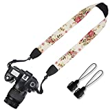 Elvam Camera Neck Shoulder Strap Belt for Men/Women Compatible with Universal DSLR/SLR/Digital Camera/Instant Camera/Nikon Canon Sony Pentax Fujifilm ETC, Vintage Rose Flower