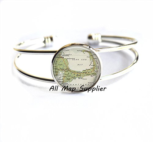 (Charming Bracelet Cape Cod map Bracelets, Cape Cod Bracelets, resin Bracelets, Cape Cod Bracelet map jewelry,A0030)