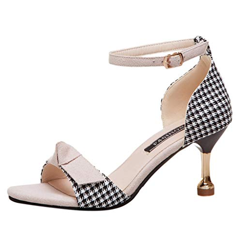Kitten Heels Dress Pump Sandals for Women, Bow Band Ankle Buckle Strap Lattice Cover Heel Evening Party Shoes (39, Beige)
