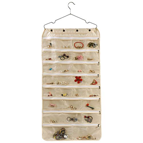 - ComboCube Beige Oxford Dual Side 60 Zippered Pockets Hanging Jewelry Organizer(Hanger Included)(Oxford Beige)