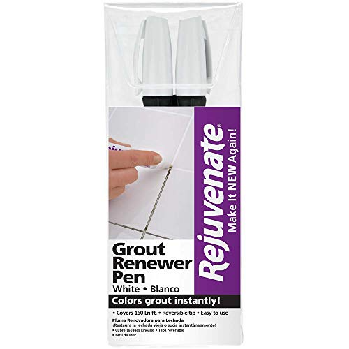 (Rejuvenate White Grout Restorer Marker Pens - Restore and Renew Dingy Stained Grout In Minutes - 2-Pack)