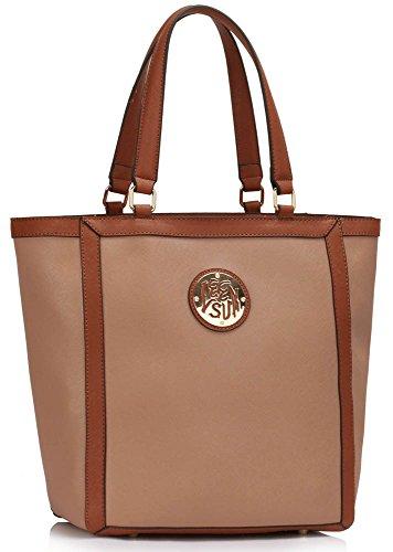 Womens Handbags Sale Ladies Shoulder Bags Faux Leather Designer Large Tote New Design 2 - Nude