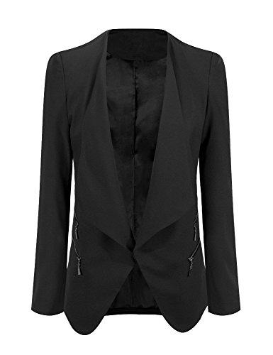 Grapent Women's Plus Size Black Draped Business Casual Zip Blazer Jacket Padded 22W (Black On Black Suit)