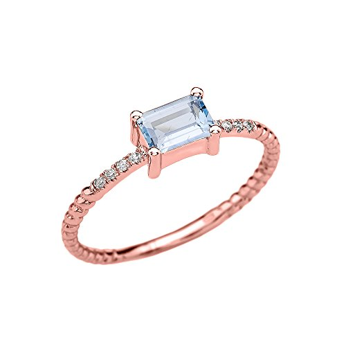 10k Rose Gold Diamond and Emerald Cut Solitaire Aquamarine Dainty Promise/Engagement Ring(Size 4)