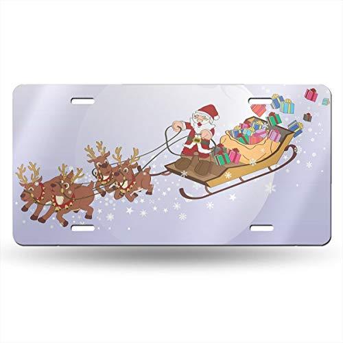 Sledding Santa Claus Novelty Design Metal License Plate Tag Sign 6