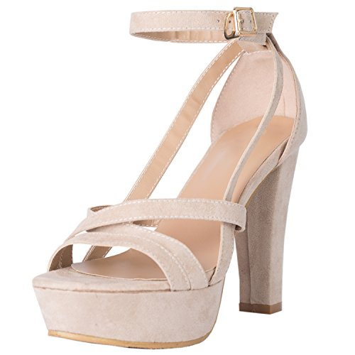 Azbro Mujer Zapato de Tacón Alto Plataforma Alta Correas de Gamuza Sintética Desnudo
