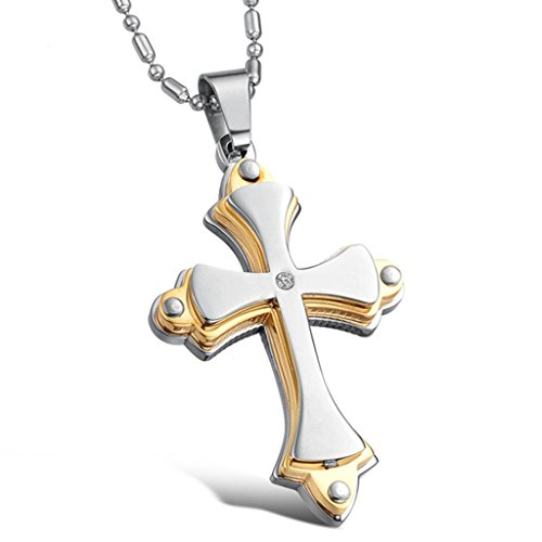 MoAndy Jewellery Titanium Stainless Steel Men's Fashion Pendant Necklace Golden Cross Chain Length 55 CM Goldfinger Jewelry Cross