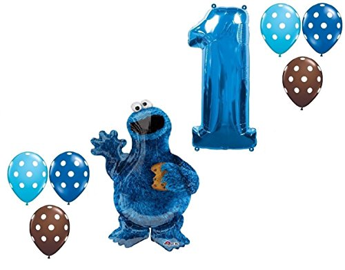LoonBalloon COOKIE MONSTER Sesame Polka Dots #1 1st Birthday PARTY Mylar Latex BALLOON Set for $<!--$12.91-->