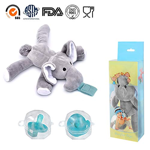 - 2-Pack Elephant Pacifiers Holder,STAR-FLY Lovely No Toxicity Removable Animals Infant Pacifiers with Plush Animal Toy Baby Newborn Pacifier Orthodontic Nipples.