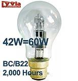 1x Lyvia EnergySaver (42w=60w) GLS Xenon Lamp (BC/B22) - Natural Daylight/Clear Bulb -