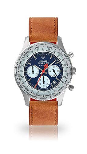 DETOMASO Firenze Racing Mens Watch Chronograph Analogue Quartz Brown Leather Strap Blue dial DT1069-A-821