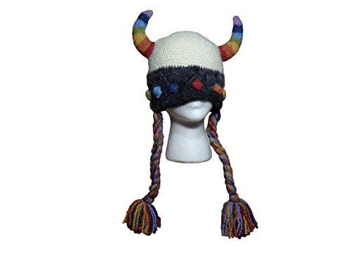 Halloween Costumes Lima Peru (Rainbow Viking Hat with Horns and Braids - Handmade 100% Peruvian Highland)